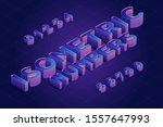 isometric 3d number font set.... | Shutterstock .eps vector #1557647993