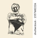 bearded man with his arms...   Shutterstock .eps vector #1557682226