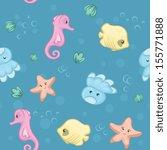 seamless pattern of underwater... | Shutterstock .eps vector #155771888