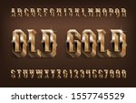 old gold alphabet font. 3d... | Shutterstock .eps vector #1557745529