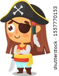 Pirate Girl Stands With His...
