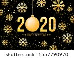new year card with golden 2020... | Shutterstock .eps vector #1557790970