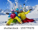 skiing  winter  snow   skiers ... | Shutterstock . vector #155779370