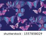 fantastic flowers. seamless...   Shutterstock .eps vector #1557858029