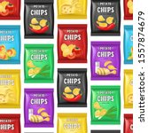 realistic detailed 3d chips... | Shutterstock .eps vector #1557874679