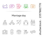 marriage day icons. set of line ... | Shutterstock .eps vector #1557882770