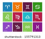 zodiac icons on color... | Shutterstock . vector #155791313