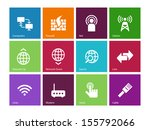 networking icons on color...