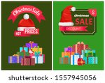 christmas discount with hot... | Shutterstock . vector #1557945056