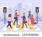 pedestrians walking on the city ... | Shutterstock .eps vector #1557948989