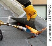 flat roof repairing with... | Shutterstock . vector #155795420