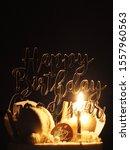 happy birthday cake with dark... | Shutterstock . vector #1557960563