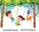 happy kids swinging with root... | Shutterstock .eps vector #1557971819
