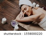 girl lies in the sauna before the massage and Spa - stock photo