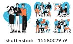 collection of succesfull team... | Shutterstock .eps vector #1558002959