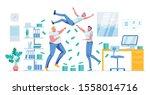 happy workers team celebrating... | Shutterstock .eps vector #1558014716