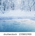 Winter In The Forest   Lake An...