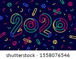 2020  happy new year. greeting...   Shutterstock .eps vector #1558076546