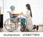 Small photo of Doctor holding patient's hand together over white background,helping hand and encouragement together with kindess and liberality.