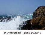 Ocean Waves Splashing With...