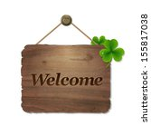 wooden background with welcome... | Shutterstock .eps vector #155817038