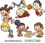 basketball,black,blond,boy,brunette,cartoon,cartwheel,character,cute,dunk,ethnic,friendship,girl,gradient,happy