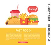 fast food. delicious food.... | Shutterstock .eps vector #1558220546