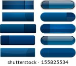 set of blank dark blue buttons... | Shutterstock .eps vector #155825534