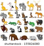 set of cute cartoon animals    Shutterstock .eps vector #155826080
