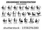 ergonomic computer desk ... | Shutterstock .eps vector #1558296380
