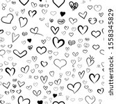set of hand drawn hearts. love... | Shutterstock .eps vector #1558345829