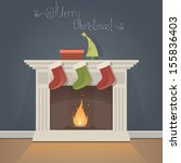 christmas card with fireplace... | Shutterstock .eps vector #155836403
