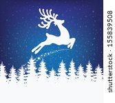 Reindeer Fly Winter Background...