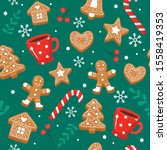 Gingerbread Pattern. Festive...