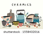 hand made pottery background... | Shutterstock .eps vector #1558432016