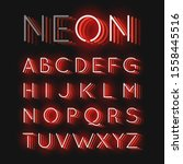 red neon character font set on... | Shutterstock .eps vector #1558445516