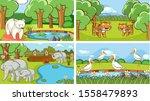 background scenes of animals in ... | Shutterstock .eps vector #1558479893