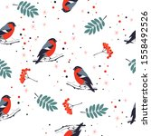 seamless christmas pattern with ... | Shutterstock .eps vector #1558492526