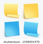 note sheet of yellow and blue... | Shutterstock .eps vector #1558501970