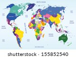 colored geopolitical world map | Shutterstock .eps vector #155852540