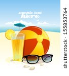 beach background with sun... | Shutterstock .eps vector #155853764