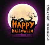 happy halloween message design... | Shutterstock .eps vector #155854028