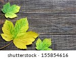 colorful  leaves on a wooden... | Shutterstock . vector #155854616