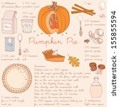 pumpkin pie recipe.... | Shutterstock .eps vector #155855594