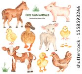 Cute Farm Animals Horse  Pig ...