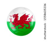 Soccer football ball with flag of Wales isolated on white. 3D illustration. See whole set for other countries.