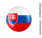 Soccer football ball with flag of Slovakia isolated on white. 3D illustration. See whole set for other countries.