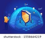 antivirus software isometric... | Shutterstock .eps vector #1558664219