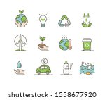 ecology icons set. global... | Shutterstock .eps vector #1558677920