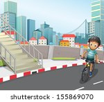 illustration of a boy biking at ... | Shutterstock .eps vector #155869070